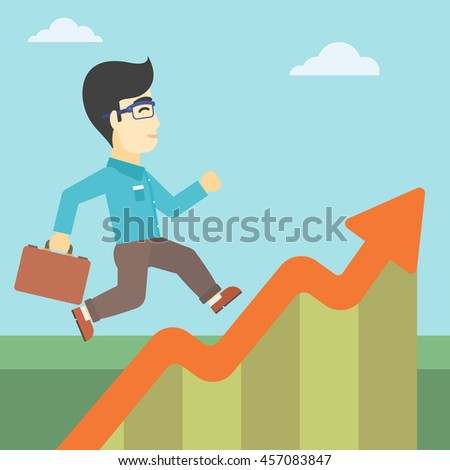 An asian cheerful businessman running along the growth graph. Happy businessman going up. Man moving up. Successful business concept. Vector flat design illustration. Square layout.