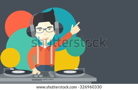 An Asian DJ wearing headphones and glasses with hand up playing vinyl vector flat design illustration. Horizontal layout with a text space. - stock vector