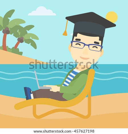 An asian happy graduate lying in chaise long. Young man in graduation cap working on laptop. Graduate on a beach. Vector flat design illustration. Square layout. - stock vector