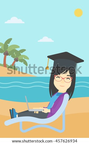 An asian happy graduate lying in chaise long. Young woman in graduation cap working on laptop. Graduate on a beach. Vector flat design illustration. Vertical layout. - stock vector