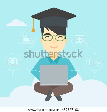An asian happy graduate sitting on the cloud. Graduate working on laptop. Education technology and graduation concept. Vector flat design illustration. Square layout. - stock vector