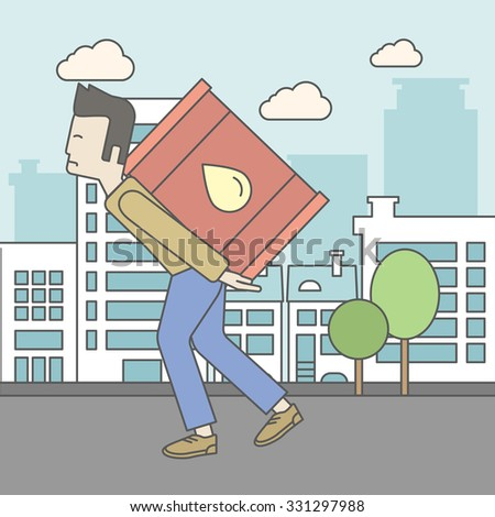 An asian man carrying an oil can on city background. Vector line design illustration. Square layout. - stock vector