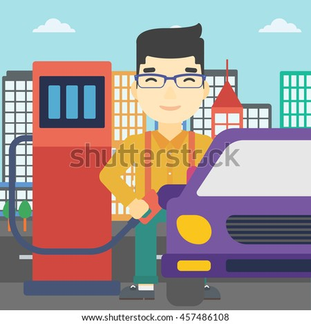 An asian man filling up fuel into the car. Man standing at the gas station and refueling a car. Vector flat design illustration. Square layout. - stock vector