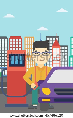 An asian man filling up fuel into the car. Man standing at the gas station and refueling a car. Vector flat design illustration. Vertical layout. - stock vector