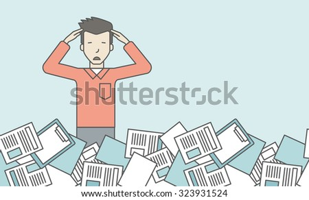 An asian man has a lot of works to do with papers in front of him. Disappointment concept. Vector line design illustration. Horizontal layout with a text space. - stock vector
