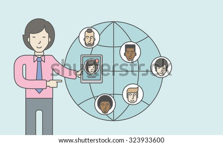 An asian man standing holding tablet with social media. Vector line design illustration. Horizontal layout with a text space. - stock vector