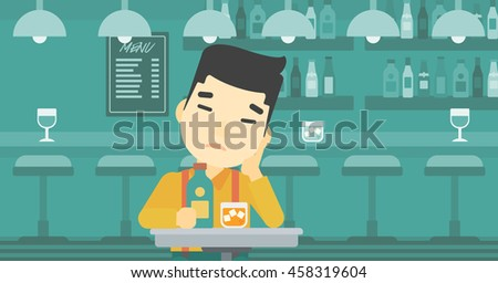 An asian sad man sitting at the bar with glass of alcoholic beverage. Young man sitting alone at the bar and drinking alcohol. Vector flat design illustration. Horizontal layout.
