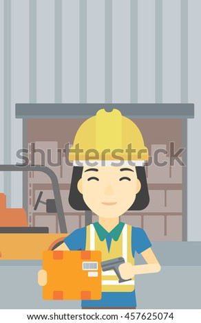 An asian warehouse worker scanning barcode on box. Warehouse worker checking barcode of box with a scanner. Woman in hard hat with scanner. Vector flat design illustration. Vertical layout. - stock vector