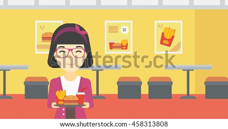 An asian woman holding tray full of junk food on a cafe background. Smiling woman in fast food restaurant. Woman having lunch in fast food restaurant. Vector flat design illustration. Horizontal