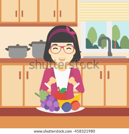 An asian woman standing in front of table full of fresh fruits in the kitchen. An excited young woman eating fruits. Healthy food concept. Vector flat design illustration. Square layout. - stock vector