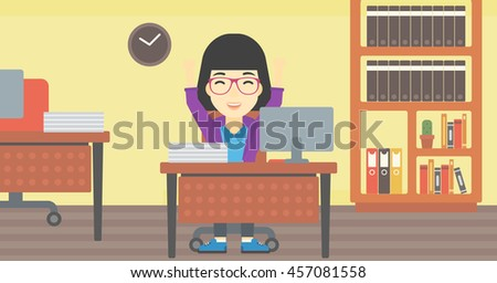 An asian  young business woman celebrating with arms up while sitting at the table in office. Successful business concept. Vector flat design illustration. Horizontal layout. - stock vector