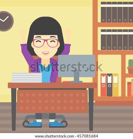 An asian  young business woman celebrating with arms up while sitting at the table in office. Successful business concept. Vector flat design illustration. Square layout. - stock vector