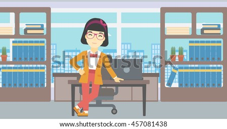An asian  young business woman leaning on a table in the office. Young smiling business woman standing in the office. Vector flat design illustration. Horizontal layout. - stock vector