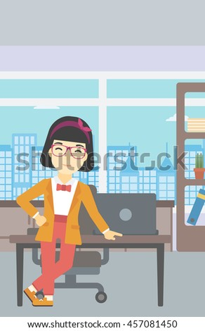 An asian  young business woman leaning on a table in the office. Young smiling business woman standing in the office. Vector flat design illustration. Vertical layout. - stock vector