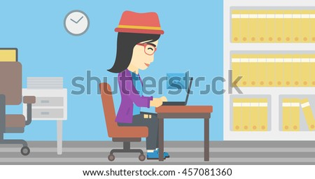 An asian  young business woman working on her laptop in office and receiving or sending email. Business technology, email concept. Vector flat design illustration. Horizontal layout. - stock vector