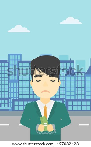 An asian  young businessman in handcuffs with money in hands on the background of modern city. Businessman handcuffed for crime. Vector flat design illustration. Vertical layout. - stock vector
