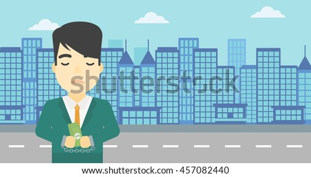 An asian  young businessman in handcuffs with money in hands on the background of modern city. Businessman handcuffed for crime. Vector flat design illustration. Horizontal layout. - stock vector