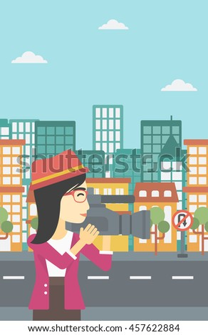An asian young female cameraman looking through movie camera. Woman with professional video camera in the city. Woman shooting outdoor. Vector flat design illustration. Vertical layout. - stock vector