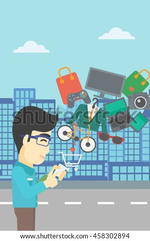 An asian young man holding a smartphone with shopping cart and application icons flying out on a city background. Vector flat design illustration. Vertical layout. - stock vector