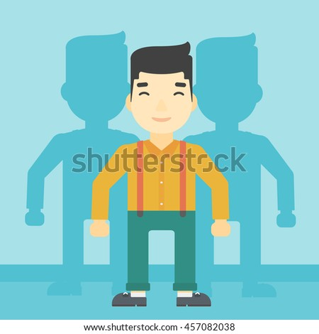 An asian young man standing with some shadows behind him. Candidat for a position stand out from crowd. Concept of staff recruitment. Vector flat design illustration. Square layout. - stock vector