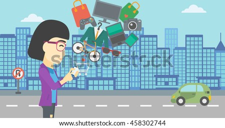 An asian young woman holding a smartphone with shopping cart and application icons flying out on a city background, Vector flat design illustration. Horizontal layout. - stock vector