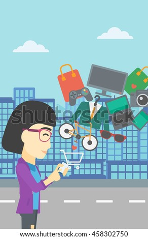 An asian young woman holding a smartphone with shopping cart and application icons flying out on a city background, Vector flat design illustration. Vertical layout. - stock vector
