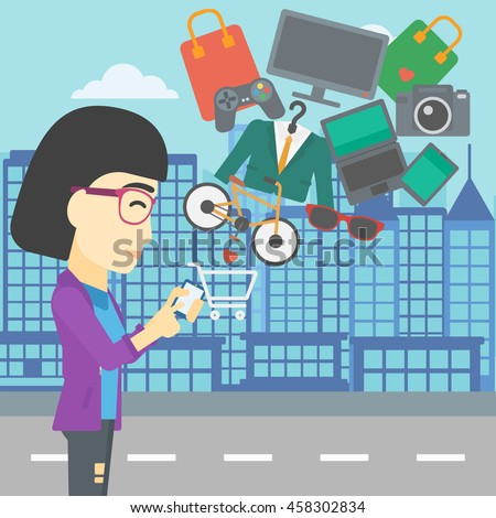 An asian young woman holding a smartphone with shopping cart and application icons flying out on a city background, Vector flat design illustration. Square layout. - stock vector