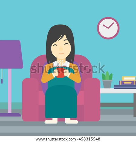An asian young woman relaxing under blanket with cup of coffee. Woman drinking coffee at home. Woman holding a cup of hot flavored coffee or tea. Vector flat design illustration. Square layout. - stock vector