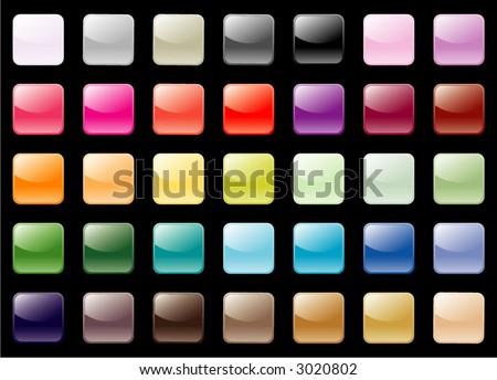 an assortment of 35 colored glossy square tiles. (design element) - stock vector