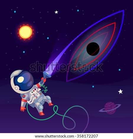 An astronaut in the open space is looking at something with a lantern. The light gets distorted and is sucked into the black hole.