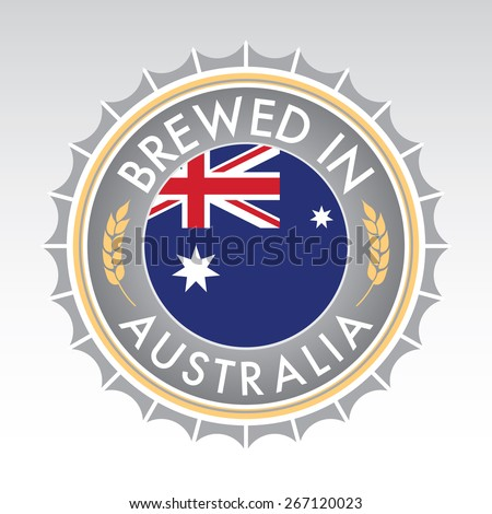 An Australian beer cap crest in vector format. The bottle cap features the Australian flag flanked by two golden wheat icons.
