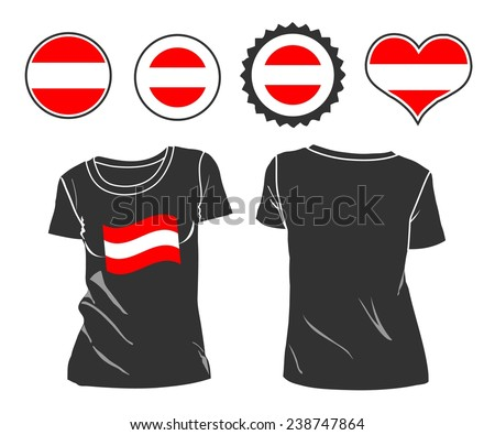 An Austrian businessman rips open his shirt and shows how patriotic he is by revealing his countries flag beneath printed on a t-shirt - stock vector