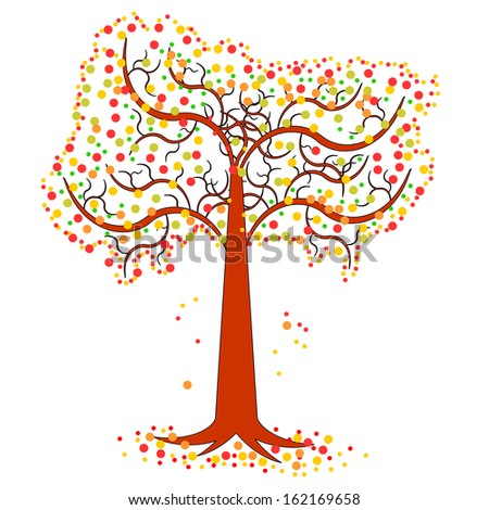 An autumn tree. Vector-art illustration isolated on a white background - stock vector