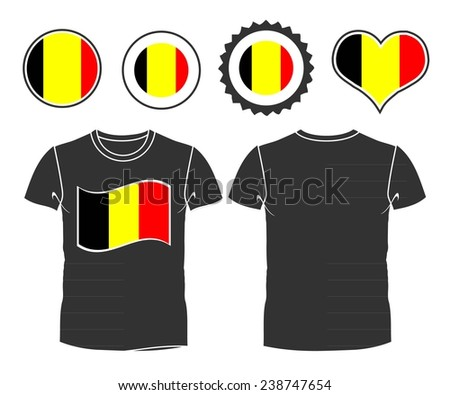 An belgian businessman rips open his shirt and shows how patriotic he is by revealing his countries flag beneath printed on a t-shirt - stock vector