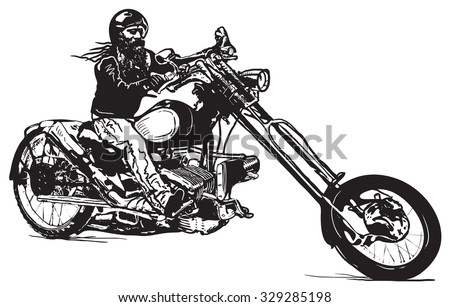 An Biker on his Chopper, Black rider. An hand drawn vector illustration in the comic and graffiti (street art) style.