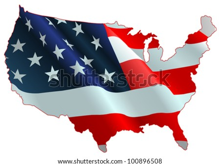 An design of American flag map - stock vector