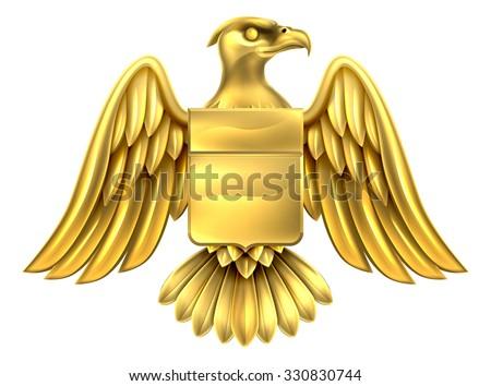 An eagle gold metal shield heraldic heraldry coat of arms design. - stock vector