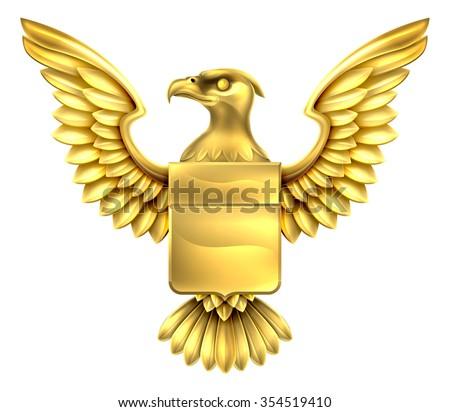 An eagle golden metal shield heraldic heraldry coat of arms design. - stock vector