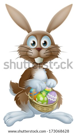 An Easter bunny rabbit holding a basket of decorated painted chocolate Easter eggs - stock vector