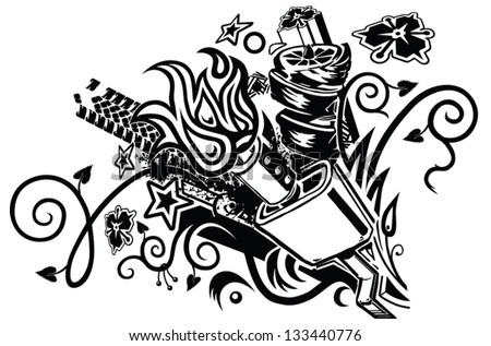 Eclectic Tattoolike Graphic Element Featuring Car Stock