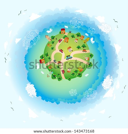 an eco illustration of earth. Friendly small Planet. Vector Illustration - stock vector