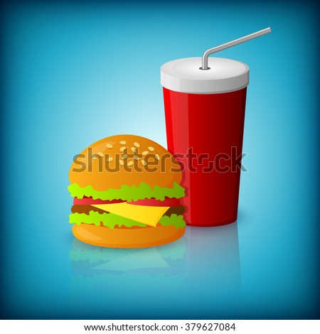 An editable vector illustration of a hamburger and drink