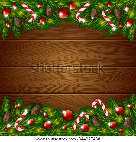 An editable vector illustration of wooden background and Xmas ornament