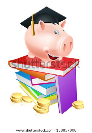 An education provision financial concept of a piggy bank in a mortar board academic cap standing on a stack of books with gold coins.