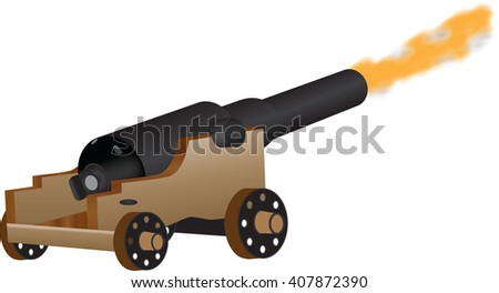 An Eighteenth Century Cannon Firing isolated on white - stock vector