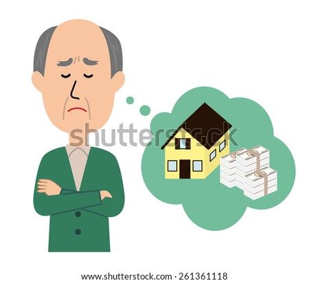 An elderly man thinking with his arms crossed, inheritance and money issue, vector illustration - stock vector