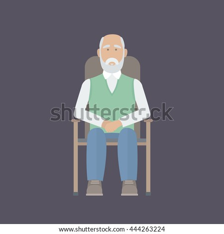 An elderly man with a white beard sitting in a chair with his arms crossed. Vector Illustration. - stock vector