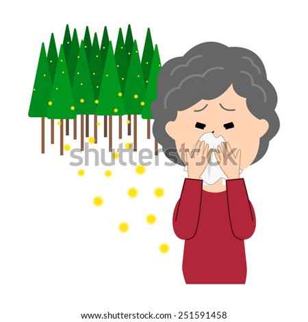 An elderly woman blowing nose, allergy caused by cedar pollen, vector illustration - stock vector