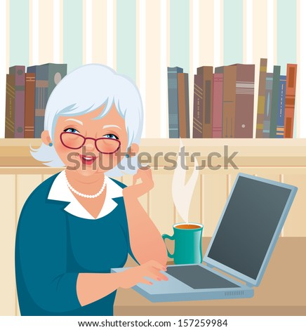 An elderly woman smiles at the camera while sitting at a laptop/ Elderly woman using a laptop/ Vector illustration of an elderly woman using a laptop - stock vector