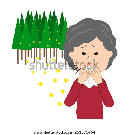 An elderly woman sneezing, allergy caused by cedar pollen, vector illustration - stock vector